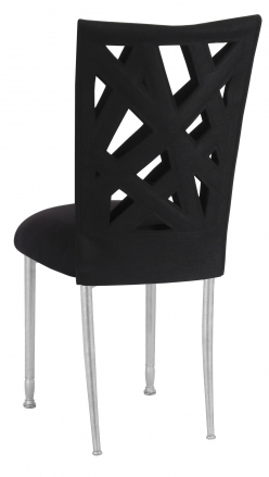 Superbe Geometric Chair Cover With Black Suede Cushion On Silver Legs (1) ...