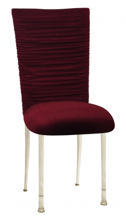 Chloe Cranberry Velvet Chair Cover and Cushion on Ivory Legs (2)