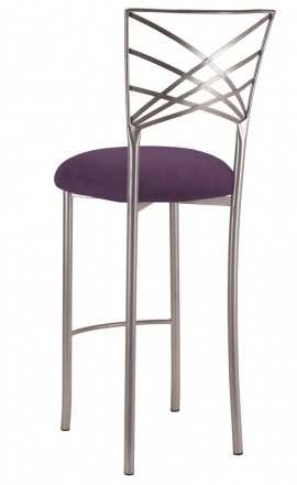 Silver Fanfare Barstool with Lilac Suede Cushion (1)