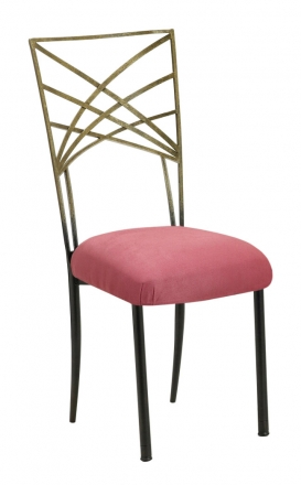 Two Tone Gold Fanfare with Raspberry Suede Cushion (2)