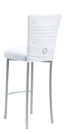 Chloe White Stretch Knit Barstool Cover with Jewel Band and Cushion on Silver Legs (1)
