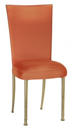 Orange Taffeta Chair Cover with Boxed Cushion on Gold Legs (2)