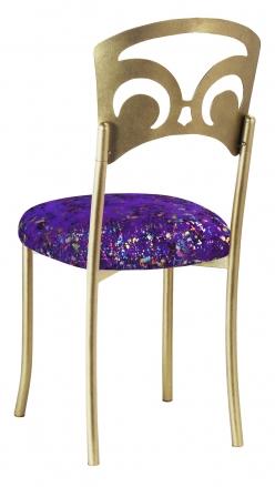 Gold Fleur de Lis with Purple Paint Splatter Stretch Knit Cushion (1)