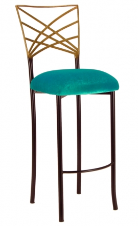 Two Tone Gold Fanfare Barstool with Turquoise Velvet Cushion (2)