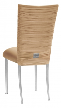 Chloe Beige Stretch Knit Chair Cover with Rhinestone Accent and Cushion on Silver Legs (1)