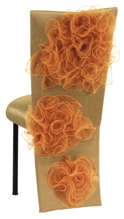 Gold Taffeta Jacket and Tulle Flowers with Boxed Cushion on Black Legs (1)