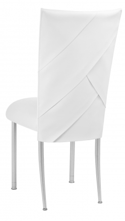 White Tiered Leatherette Chair Cover and Cushion on Silver Legs (1)