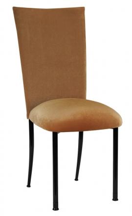 Gold Velvet Chair Cover and Cushion on Black Legs (2)