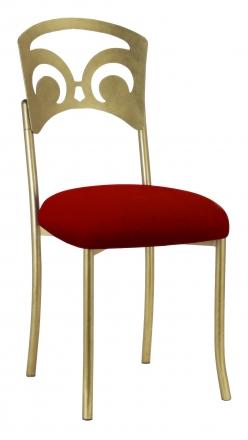 Gold Fleur de Lis with Red Velvet Cushion (2)
