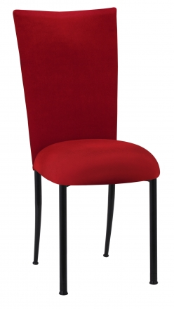 Red Velvet Chair Cover and Cushion on Black Legs (2)