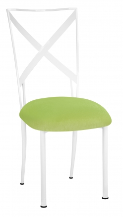 Simply X White with Lime Green Velvet Cushion (2)