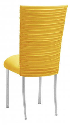 Chloe Bright Yellow Stretch Knit Chair Cover and Cushion on Silver Legs (1)