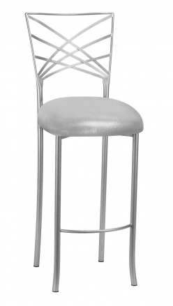 Silver Fanfare Barstool with Metallic Silver Knit Cushion (2)
