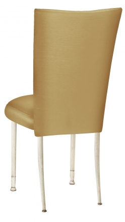 Gold Taffeta Chair Cover with Boxed Cushion on Ivory Legs (1)