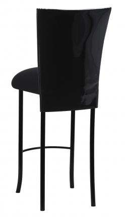 Black Patent Barstool Cover with Black Velvet Cushion on Black Legs (1)