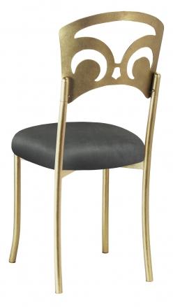Gold Fleur de Lis with Charcoal Suede Cushion (1)
