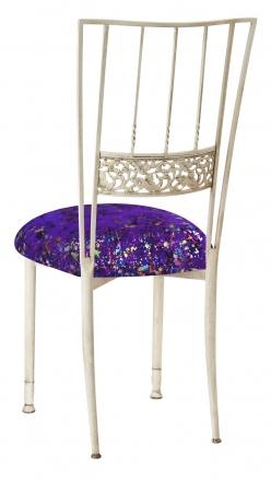 Ivory Bella Fleur with Purple Paint Splatter Knit Cushion (1)