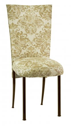 Ravena Chenille Empire Cut Chair Cover with Boxed Cushion on Brown Legs (2)