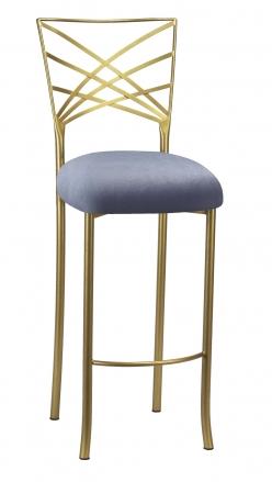 Gold Fanfare Barstool with Steel Velvet Cushion (2)