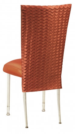 Orange Taffeta Scales 3/4 Chair Cover with Boxed Cushion on Ivory Legs (1)