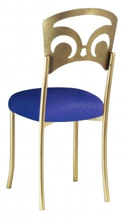 Gold Fleur de Lis with Royal Blue Stretch Knit Cushion (1)