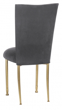 Charcoal Suede Chair Cover and Cushion on Gold Legs (1)