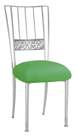 Silver Bella Fleur with Kelly Green Stretch Knit Cushion (2)
