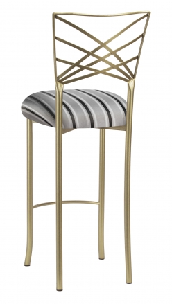 Gold Fanfare Barstool with Charcoal Striped Cushion (1)