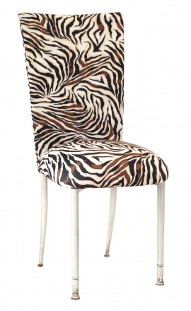 Zebra Stretch Knit Chair Cover and Cushion on Ivory Legs (2)