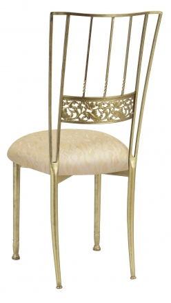 Gold Bella Fleur with Ivory Lace over Ivory Knit Cushion (1)