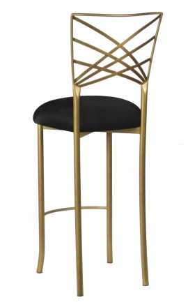 Gold Fanfare Barstool with Black Stretch Knit Cushion (1)