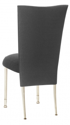 Charcoal Linette Chair Cover and Boxed Cushion on Ivory Legs (1)