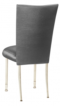 Charcoal Taffeta Chair Cover with Boxed Cushion on Ivory Legs (1)