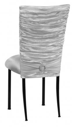 Silver Demure Chair Cover with Jeweled Band and Silver Stretch Knit Cushion on Black Legs (1)