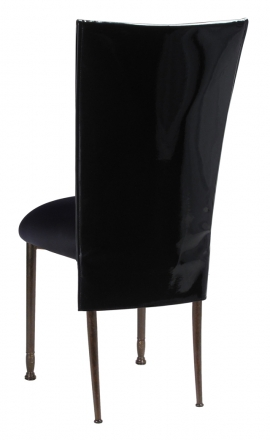 Black Patent 3/4 Chair Cover with Black Stretch Knit Cushion on Mahogany Legs (1)