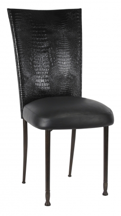 Black Croc Chair Cover with Black Leatherette Boxed Cushion on Mahogany Legs (2)