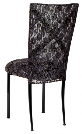 Blak. with Black Lace Chair Cover and Black Lace over Black Stretch Knit Cushion (1)