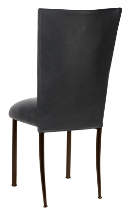 Black Leatherette Chair Cover and Cushion on Brown Legs (1)