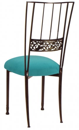 Mahogany Bella Fleur with Turquoise Suede Cushion (1)