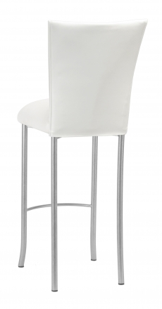 White Leatherette Barstool Cover and Cushion on Silver Legs (1)