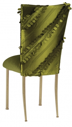 Olive Taffeta Petals Chair Cover with Olive Velvet Cushion on Gold Legs (1)