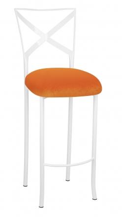 Simply X White Barstool with Orange Velvet Cushion (2)
