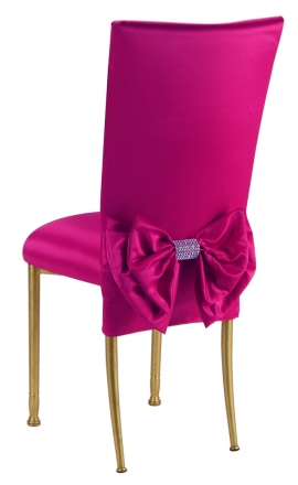 Fuchsia Satin Chair Cover with Bow Belt and Cushion on Gold Legs (1)
