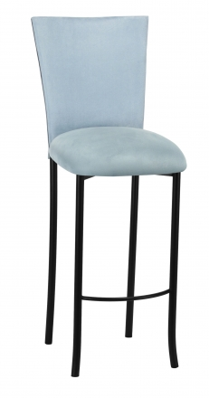 Ice Blue Suede Barstool Cover and Cushion on Black Legs (2)