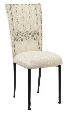 Mahogany Bella Fleur with Ivory Lace Chair Cover and Ivory Lace over Ivory Stretch Knit Cushion (2)