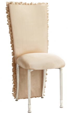 Champagne Ruffle Chair Cover with Champagne Bengaline Cushion on Ivory Legs (2)
