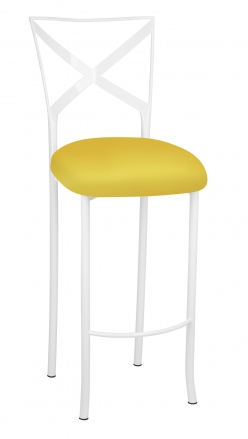 Simply X White Barstool with Bright Yellow Stretch Knit Cushion (2)