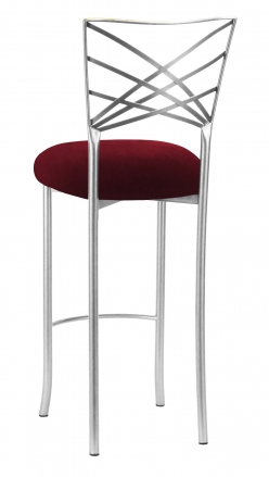 Silver Fanfare Barstool with Cranberry Velvet Cushion (1)