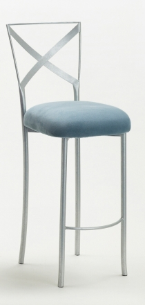 Simply X Barstool with Ice Blue Suede Cushion (2)