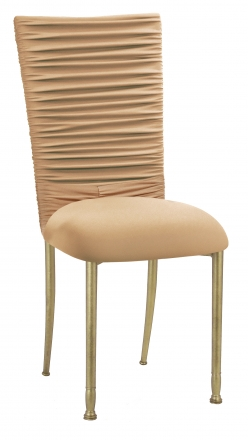 Chloe Beige Stretch Knit Chair Cover with Jewel Band and Cushion on Gold Legs (2)